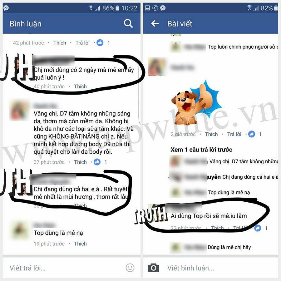 Top White hình ảnh khách hàng sau khi sử dụng